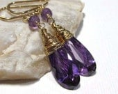 E12044 - 40% off CLEARANCE! 14k Gold Filled Gemstone Dangle Earrings with Purple CZ and Amethyst