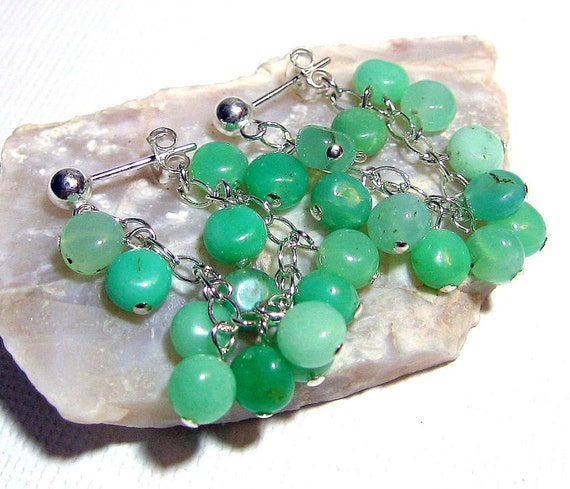 Sterling Silver Earrings with Chrysoprase