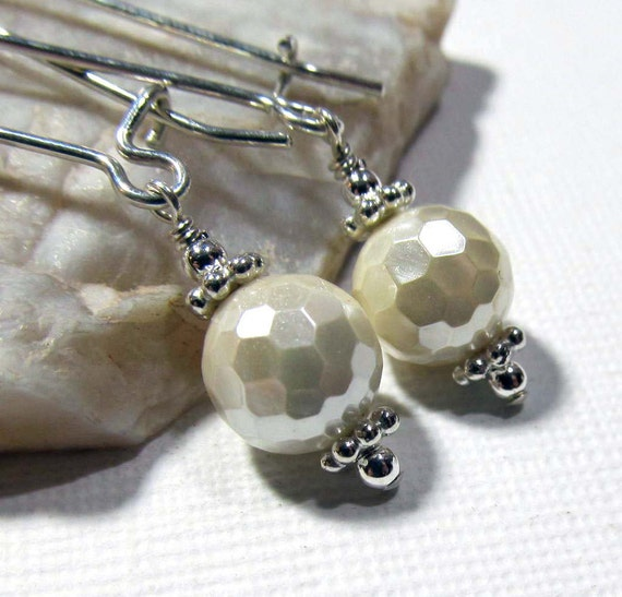 PIF - Sterling Silver with Cream Disco Shell Pearls