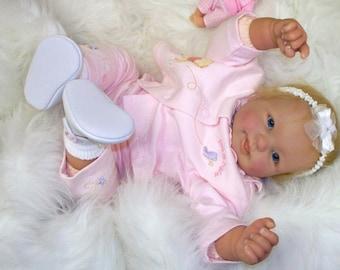 Reborn Baby Girl , Blond  Hair, Blue Eyes