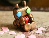 Micro Lovebot In Heart Tin - Copper