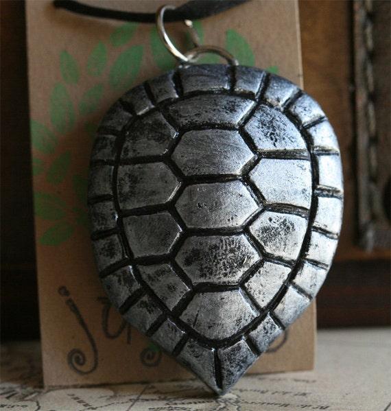 Turtle Shell Pendant - Silver