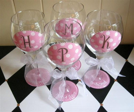 Items similar to bridesmaid wine glasses oval initial set for Painted wine glasses with initials