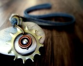 RESERVED FOR Cervantes:  Sci Fi Steampunk Industrial Motor Hardware Necklace on Leather Handmade Leather Jewelry Unisex