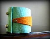 Turquoise Mint Honey Luxurious Genuine Deerskin Leather CuffHoliday Sale Holiday Sale