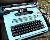Aqua Blue Typewriter, vintage Smith and Corona 1970s