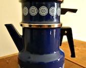 Vintage Blue Enamel Coffee Pot