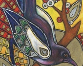 Art Nouveau Magpie Raven Bird Animal Art Giclee Print
