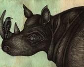 Original Rhino / Bird / Animal Art Ink Painting