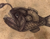 Original Black Devil fish / Angler Fish Animal Artwork
