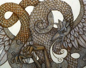 Original Cockatrice / Dragon / Fantasy Art / Mythology Painting by Lynnette Shelley