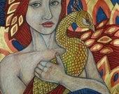 If I Were A Phoenix Bird - Fantasy Art Print by Lynnette Shelley