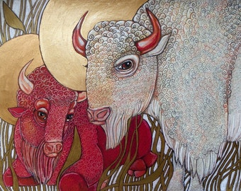 White Buffalo / Red Buffalo / Bison Animal Art Nouveau Artwork by Lynnette Shelley