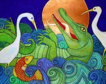 Crocodile / Alligator / Crane / Egret / Heron / Animal Art by Lynnette Shelley