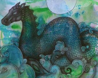 Loch Ness Monster / Sea Dragon / Sea Monster Fantasy Art Print by Lynnette Shelley