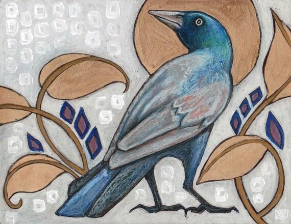 Original Grackle / Black Bird / Animal Painting by Lynnette Shelley