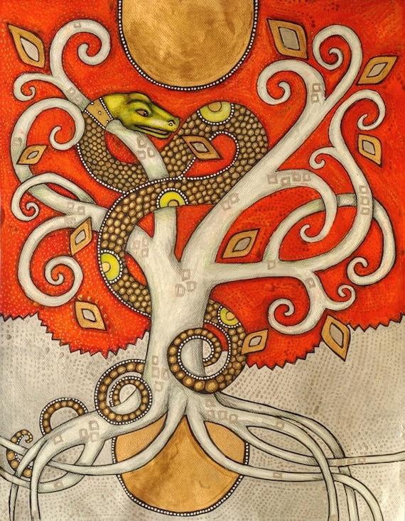 Serpent Tree / World Tree / Tree of Life Fine Art Print by Lynnette Shelley