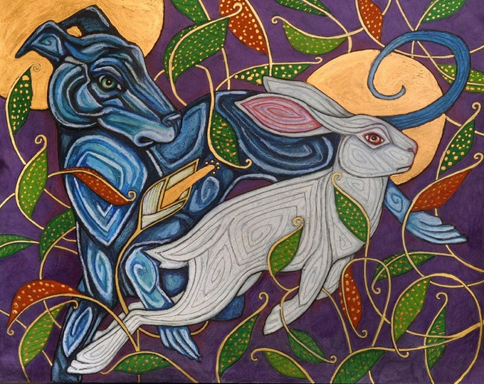 Celtic Dog / Greyhound / Whippet Hunting Rabbit Art Print