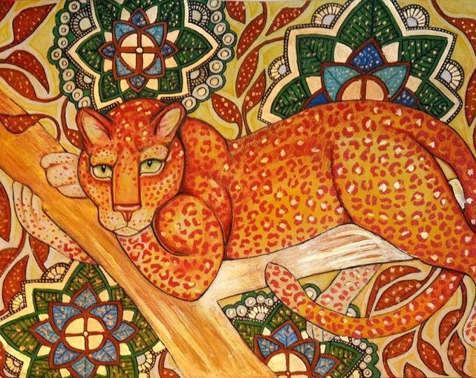 Arabesque Leopard Cat Animal Art Giclee Print by Lynnette Shelley