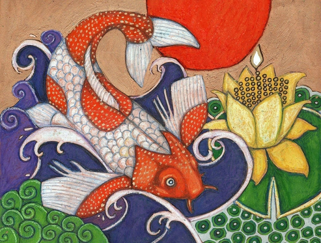Colorful japanese koi carp fish animal print by lynnette for Koi japanese art