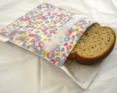 Cotton Reusable Sandwich Bag--White with Pastel Flowers