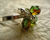 Olive and Silver Cluster Ring - size 7