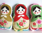 Sweetest Matryoshka Plush Dolls for Babies, Toddlers or Girls - Set of 3 Pocket Dolls