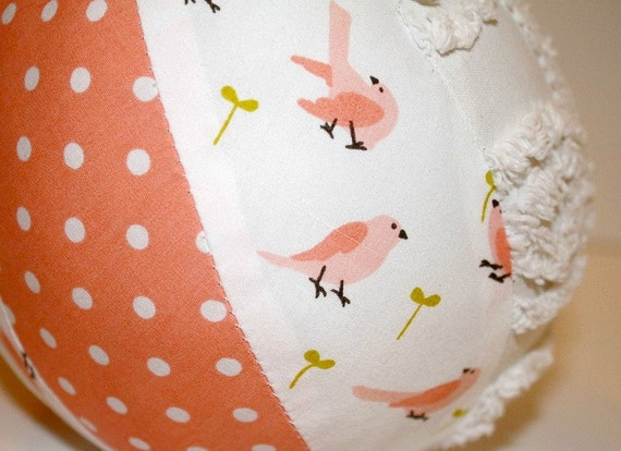 Sweet Bird and Branch - Organic Fabric Baby Ball with Chenille and a Rattle - Perfect Baby Shower Gift for a Girl