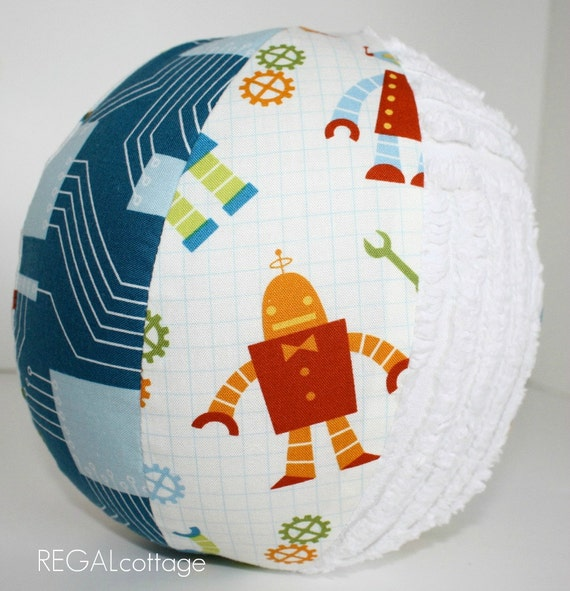 Toy Rattle Ball with Organic Fabric and Chenille - Robots - Small Size