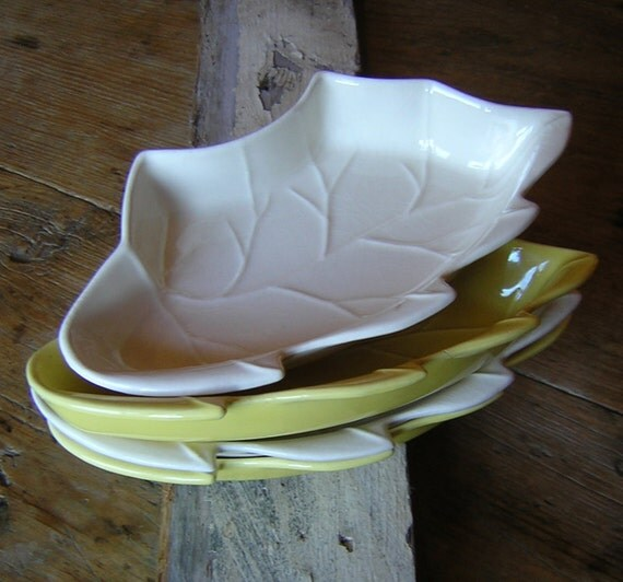 Vintage Pottery Leaf Serving Pieces in Cream and Citrus