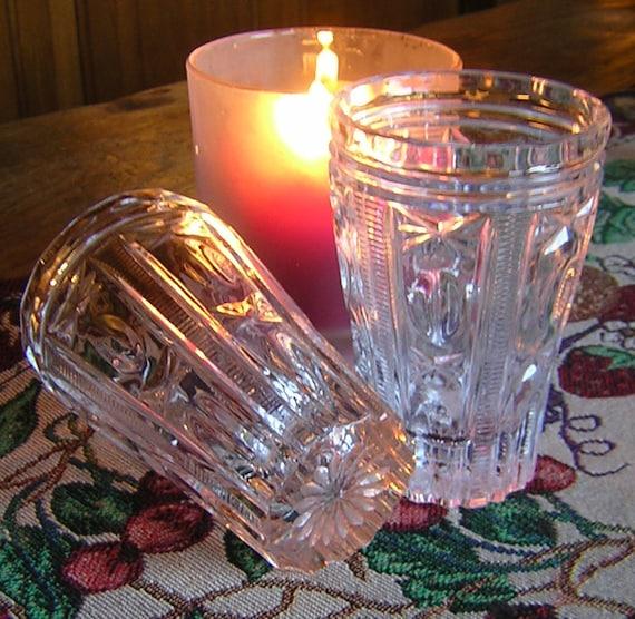 Vintage Ornate Pressed Juice or Wine Glasses