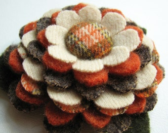 My Plaid Collection - Handcut Felted Wool Flower Brooch Pin in Brown Orange Cream