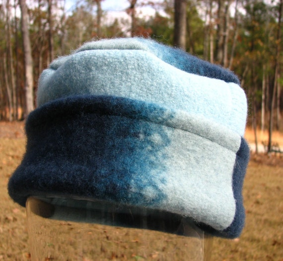 Pillbox Style Hat from Upcycled Felted Wool Sweaters - Caribbean Ocean Blues - Clearance SALE