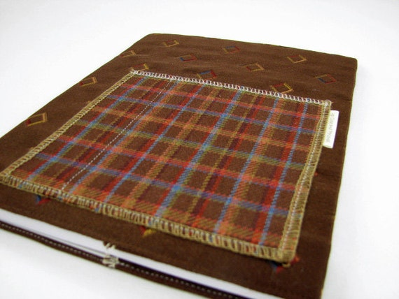 What Women Want - Fabric Covered Composition Book Journal with Pocket - Chocolate and Diamonds