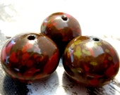 Monet Inspired Brown Rondelles - Last Set This Color - Vintage Japanese Lucite Beads - elp426