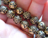 Vintage Plastic Rose Beads in Bronze - 9mm Round - Great Accents - ef18