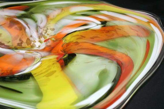 Spun Gallery Hand Blown Glass Platter 2011-86
