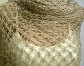 Reserved listing for Molly Crochet Cotton Spring Shawl Scarf Light Brown expedited shipping