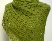 FREE SHIPPING-Crochet Hand Crochet Elegant Chic green Mohair Shawl