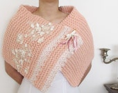 ON SALE Knitting Shoulder Wrap Hand Knitted Bridal Capelet Wedding  Cape Shawl Wrap  Lace Flowers Eyelet Pearls Beaded Winter Weddings