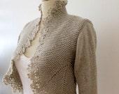 Hand Knit Sweater Knitting Knitted Cardigan Crochet Border Jacket 3/4 Sleeve Bolero  Shrug