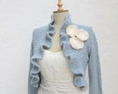 Private Listing Knit Long Sleeve Bridal Ruffle Bolero Bridesmaids  Wedding  Shawl Wrap Capelet Baby Blue