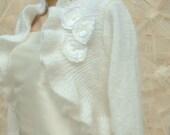 Private Listing White Wedding Bolero, White Bridal Shrug, Ruffle Bridal Bolero, 3/4 Sleeve Shrug, Wedding Sweater, Bridal Wrap