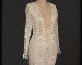 Hand Crocheted Crochet Tunic Beach Wear White Winter White