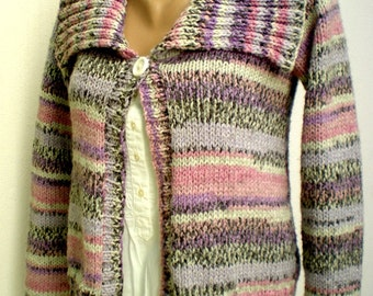Hand Knitted Knitting Short Cardigan Sweater For Four Seasons Colorful Striped Long Sleeved
