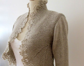 Hand Knit Sweater Knitting Knitted Cardigan Crochet Border Jacket 3/4 Sleeve Bolero  Shrug Wedding Boleros Shrugs Bridal Jackets Cardigans