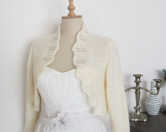 Bridal Boleros Wedding Jacket Wool Cardigan  3/4 sleeve Boleros Jackets Sweaters Shawl Wrap Capelet Ivory  Plus Size Extra Large