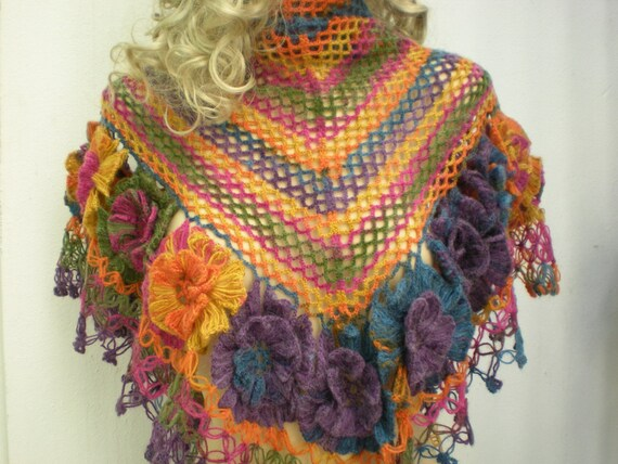 Violet shawl, Crochet Hand Crocheted with flower Colorful