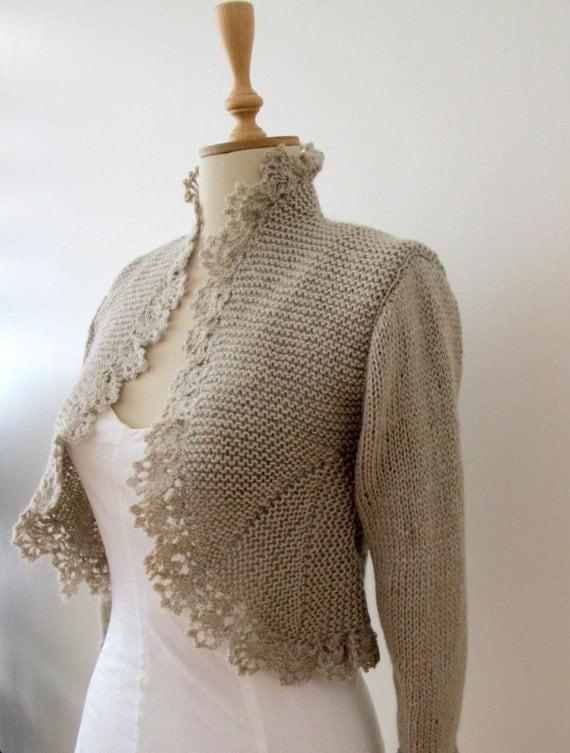 Hand Knit Sweater Knitting Knitted Cardigan Crochet Border Jacket 3/4 Sleeve Bolero  Shrug Wedding Boleros Shrugs Bridal Jackets Cardigans