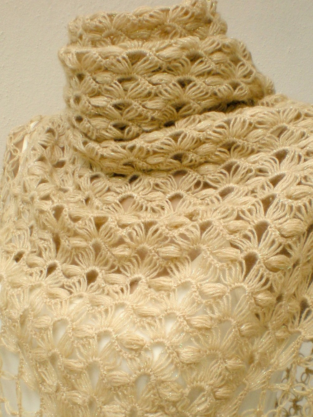 Crocheting By Hand : On Sale Crochet Hand Crocheted Shining Beige by crochetbutterfly
